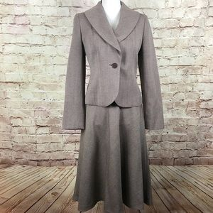 Ann Taylor Loft Wool Blazer Skirt Suit Brown Sz 4P